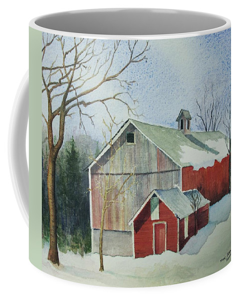 New England Coffee Mug featuring the painting Williston Barn by Mary Ellen Mueller Legault