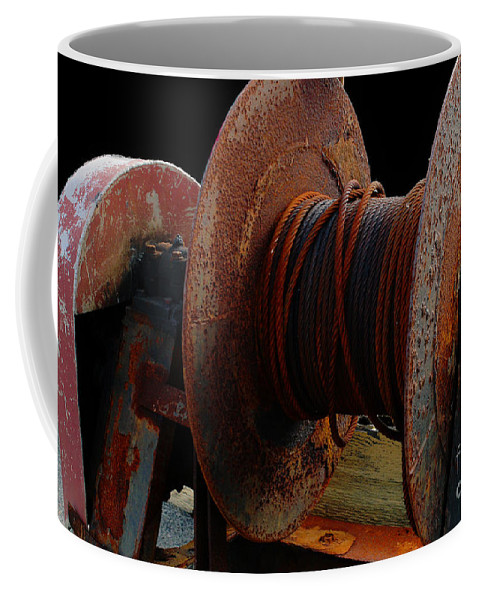 Winch Coffee Mug featuring the photograph Winch - Cable - Crank - Boats by Barbara Griffin