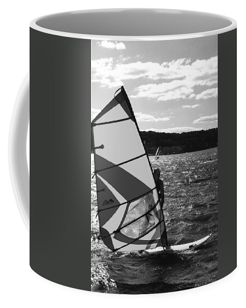 Sandy Coffee Mug featuring the photograph Wind Surfer II Bw by Pablo Rosales