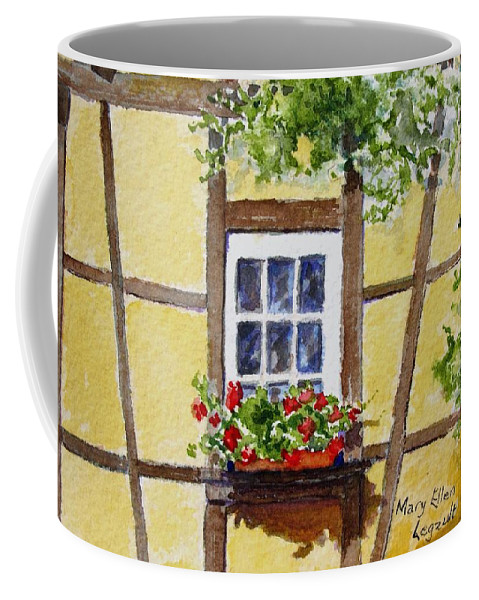 Window Coffee Mug featuring the painting Window Alsace by Mary Ellen Mueller Legault