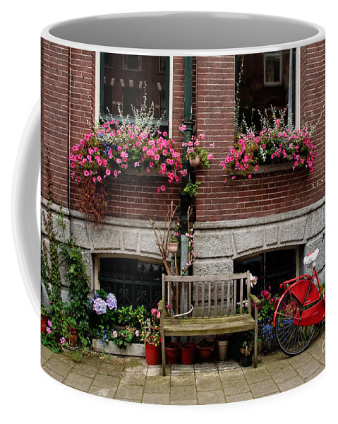 Amsterdam Coffee Mug featuring the photograph Window Box Bicycle And Bench -- Amsterdam by Thomas Marchessault