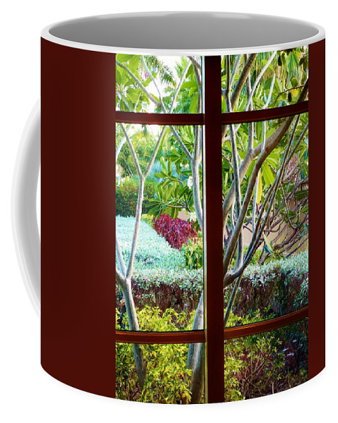 Scenic Lush Tropical Garden Coffee Mug featuring the photograph Window Garden by Amar Sheow