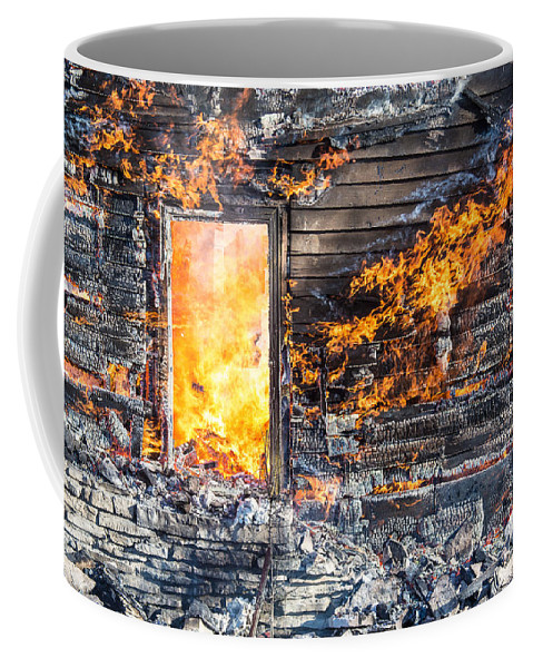 Ash Coffee Mug featuring the photograph Window Thru The Depth Of Firey Fury by Andrew Slater