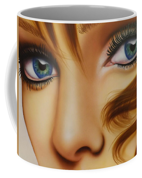 Portrait Coffee Mug featuring the painting Window To The Soul by Darren Robinson