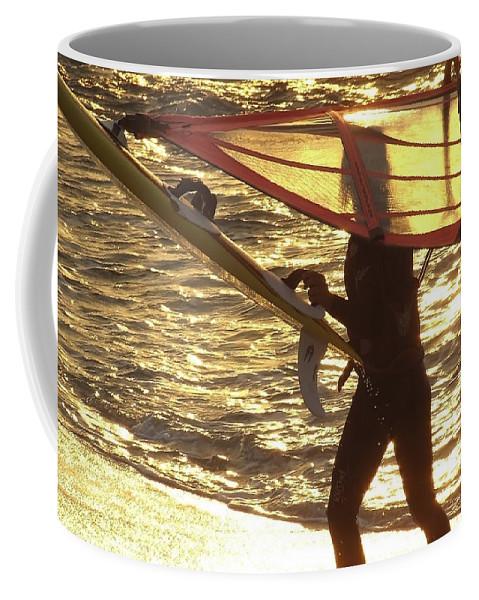 Windsurfing Coffee Mug featuring the photograph Windsurfer At Sunset by Totally Talliesen