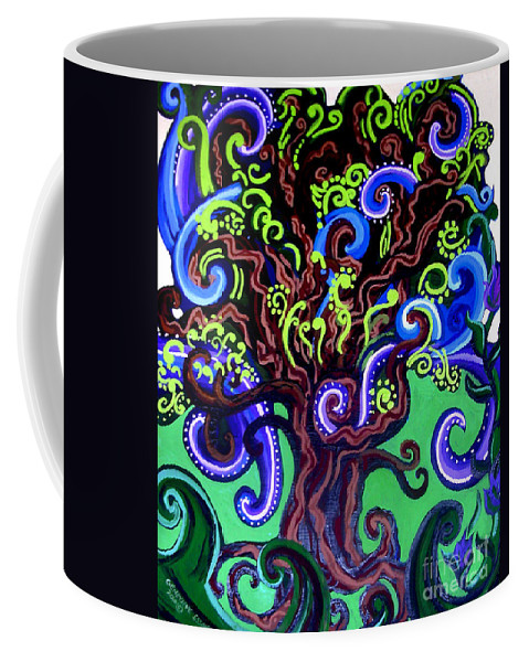 Tree Coffee Mug featuring the painting Windy Blue Green Tree by Genevieve Esson