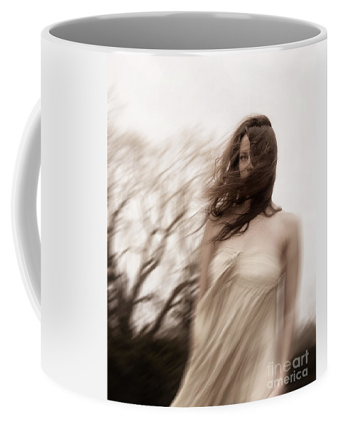 Caucasian; Woman; Lady; Female; Outside; Outdoors; Storm; Stormy; Wind; Windy; Blur; Blurred; Blurry; Horror; Scary; Mysterious; Mystery; Foreboding; Hair; Long Hair; Brunette; Dress; Gold; Strapless; Haunted; Scared; Terror; Trees; Autumn; Spring; Branches Coffee Mug featuring the photograph Windy by Margie Hurwich