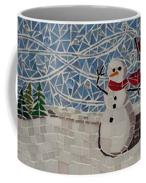 Landscape Coffee Mug featuring the mixed media Windy Winter by Julie Mazzoni