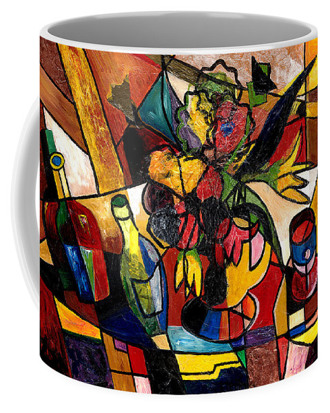 Everett Spruill Coffee Mug featuring the painting Wine And Flowers For Two by Everett Spruill