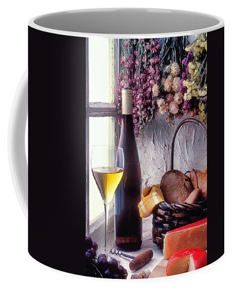 White Coffee Mug featuring the photograph Wine Bottle With Glass In Window by Garry Gay