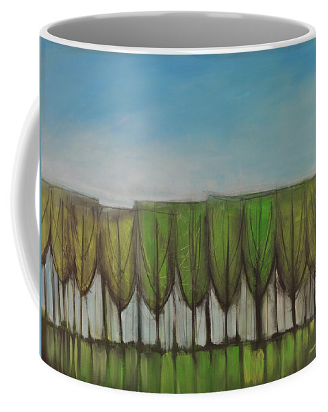Trees Coffee Mug featuring the painting Wineglass Treeline by Tim Nyberg