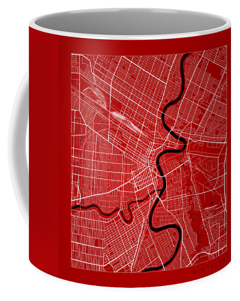 Road Map Coffee Mug featuring the digital art Winnipeg Street Map - Winnipeg Canada Road Map Art On Color by Jurq Studio