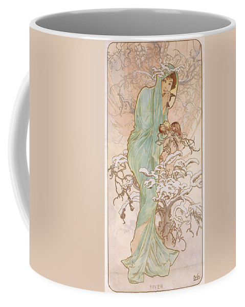 Mucha Coffee Mug featuring the painting Winter by Alphonse Marie Mucha