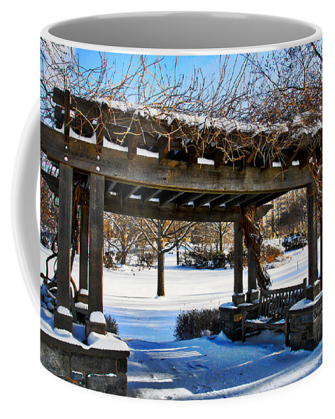 Arbor Coffee Mug featuring the photograph Winter Arbor by Alice Gipson