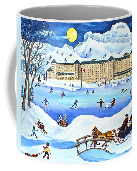 Ice Magic Coffee Mug featuring the painting Winter At Lake Louise Chateau by Virginia Ann Hemingson