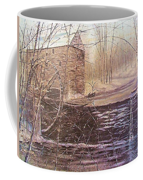 Mill Coffee Mug featuring the painting Winter At Wolf Pen Mill by Gerry Furgason