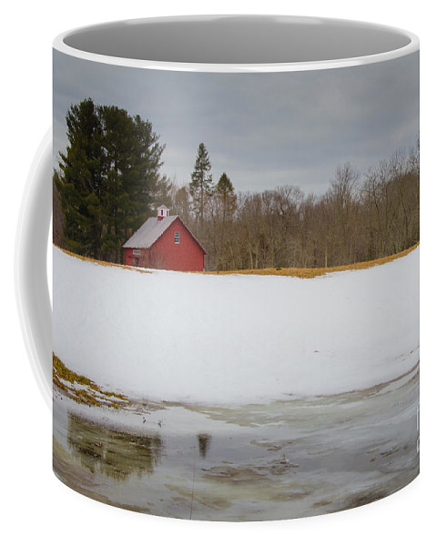 Red Coffee Mug featuring the photograph Winter Barn by Pat Lucas