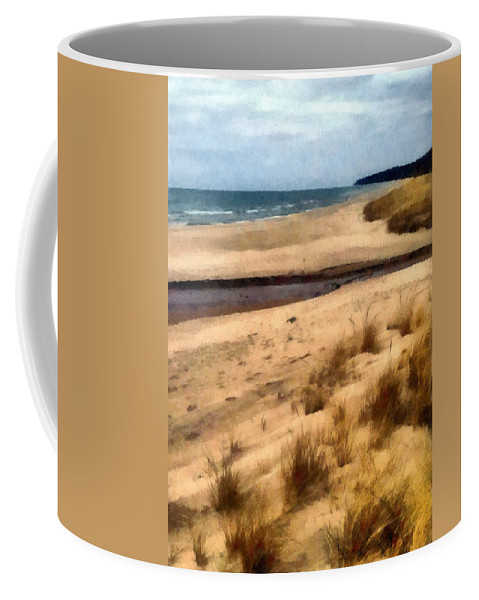 Lake Michigan Coffee Mug featuring the photograph Winter Beach At Pier Cove Ll by Michelle Calkins
