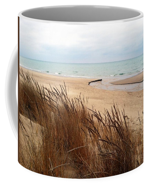 Lake Michigan Coffee Mug featuring the photograph Winter Beach At Pier Cove by Michelle Calkins