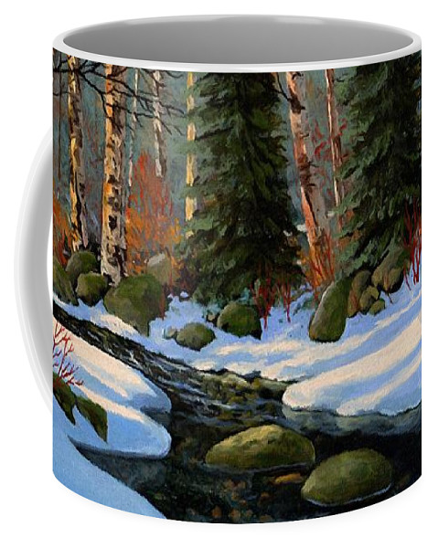 Landscape Coffee Mug featuring the painting Winter Brook by Frank Wilson