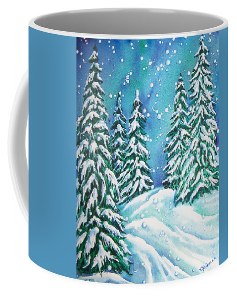 Snow Coffee Mug featuring the painting Winter by Conni Reinecke