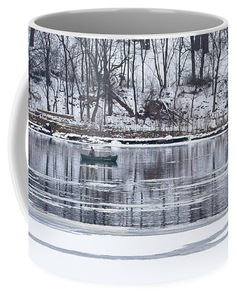 Wisconsin River Coffee Mug featuring the photograph Winter Fishing - Wisconsin River by Steven Ralser
