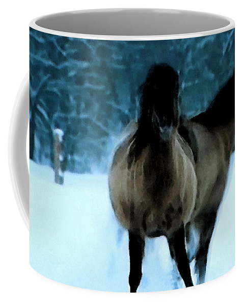 Colette Coffee Mug featuring the painting Winter Friendship by Colette V Hera Guggenheim