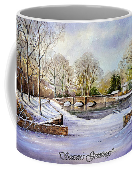 Christmas Card Coffee Mug featuring the painting winter in ashford Derbyshire by Andrew Read
