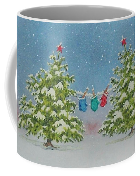 Fun Coffee Mug featuring the painting Winter Is Fun by Mary Ellen Mueller Legault