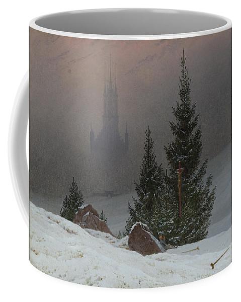 Caspar David Friedrich Coffee Mug featuring the painting Winter Landscape by Caspar David Friedrich