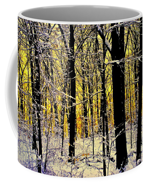 Winter Coffee Mug featuring the photograph Winter Mood Lighting by Frozen in Time Fine Art Photography