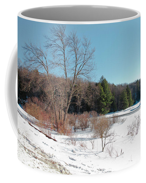 Adirondack's Coffee Mug featuring the photograph Winter On The Moose River - Old Forge New York by David Patterson