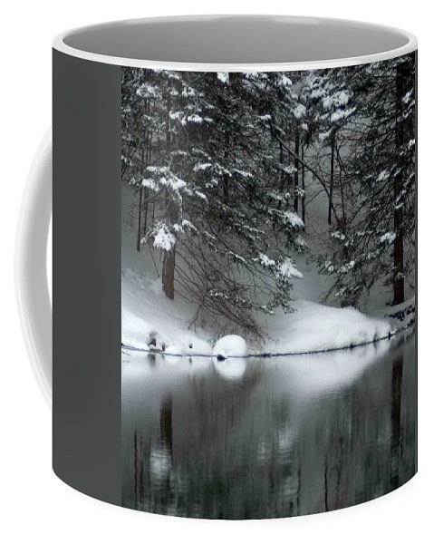 Snow Covered Pine Trees Coffee Mug featuring the photograph Winter Reflection 004 by Optical Playground By MP Ray