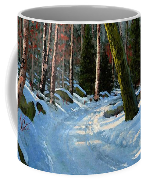Landscape Coffee Mug featuring the painting Winter Road by Frank Wilson