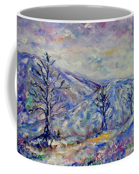 Winter Coffee Mug featuring the painting Winter Road by Laura Corebello