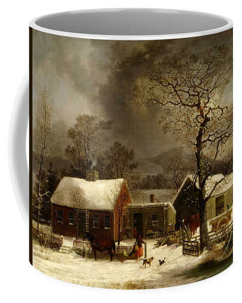 Painting Coffee Mug featuring the painting Winter Scene In New Haven Connecticut 1858 By Durrie by Movie Poster Prints