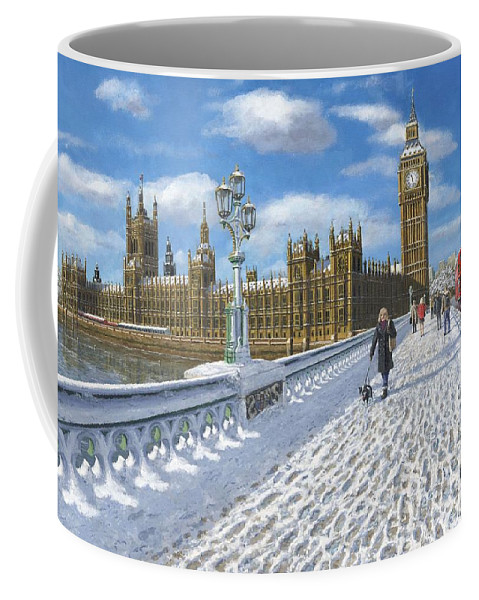 Landscape Coffee Mug featuring the painting Winter Sun - Houses Of Parliament London by Richard Harpum