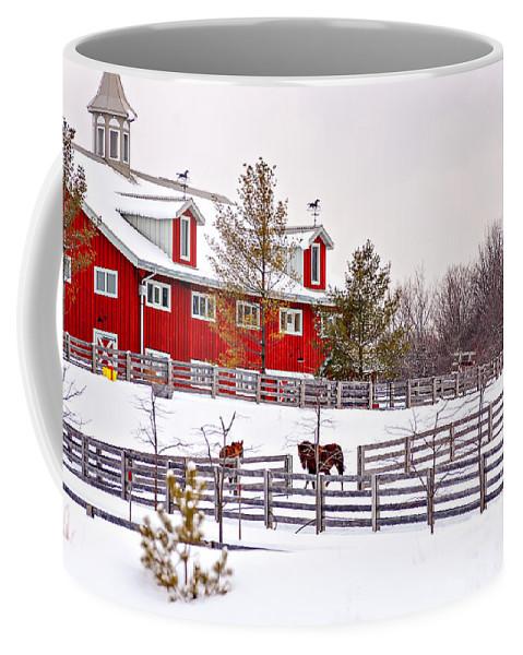 Steve Harrington Coffee Mug featuring the photograph Winter Thoroughbreds by Steve Harrington