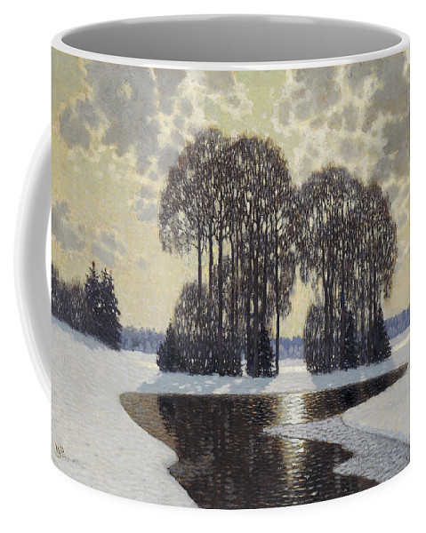 Vilhelms Purvitis Coffee Mug featuring the painting Winter by Vilhelms Purvitis