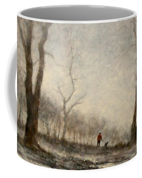 Landscape Coffee Mug featuring the painting Winter Walk by Jim Gola