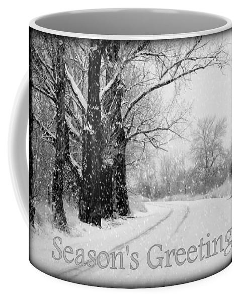 Seasonal Coffee Mug featuring the photograph Winter White Season's Greeting Card by Carol Groenen