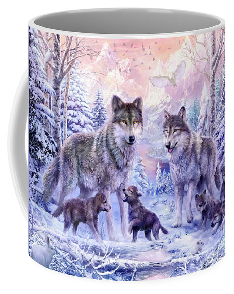 Animal Coffee Mug featuring the digital art Winter Wolf Family by MGL Meiklejohn Graphics Licensing