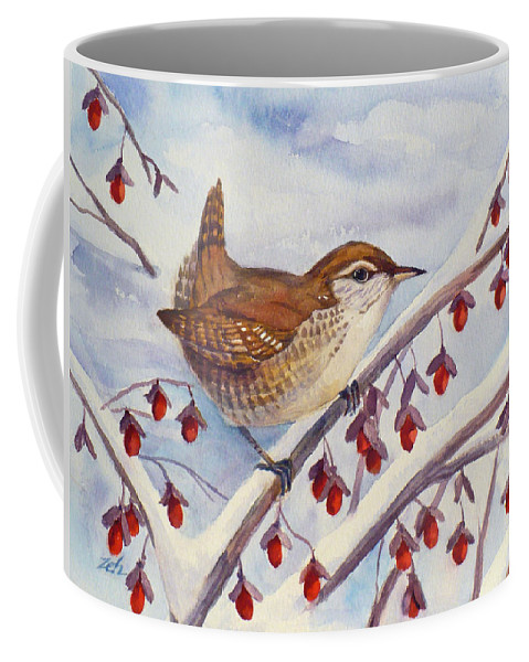 Winter Wren Painting Coffee Mug featuring the painting Winter Wren by Janet Zeh