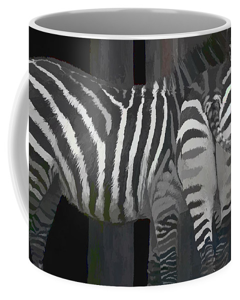 Zebra Coffee Mug featuring the painting Winter Zebras by Angela Stanton