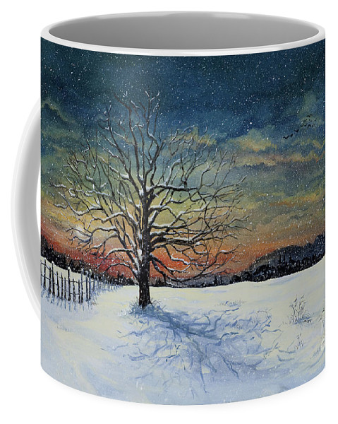 Oak Tree Coffee Mug featuring the painting Winters Eve by Mary Palmer