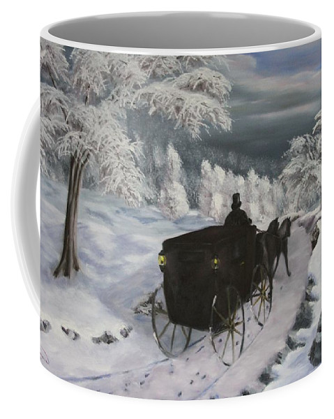 Landscape Coffee Mug featuring the painting Winters Journey by Lou Magoncia