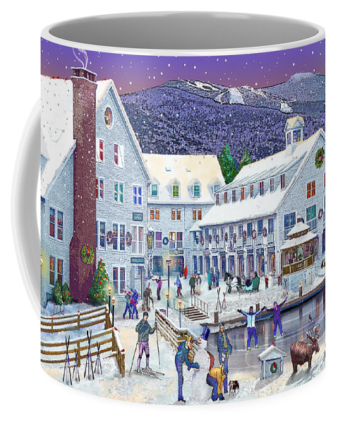Waterville Valley New Hampshire Coffee Mug featuring the digital art Wintertime At Waterville Valley New Hampshire by Nancy Griswold