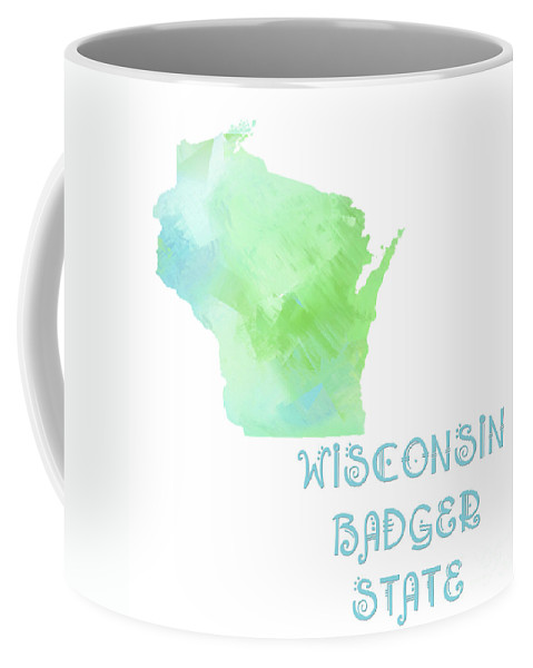 Andee Design Coffee Mug featuring the digital art Wisconsin - Badger State - Map - State Phrase - Geology by Andee Design