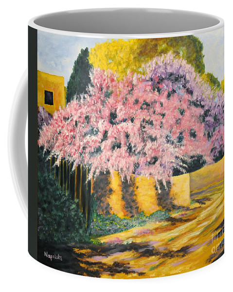 Wisteria Tree Coffee Mug featuring the painting Wisterias Santa Fe New Mexico by Barney Napolske