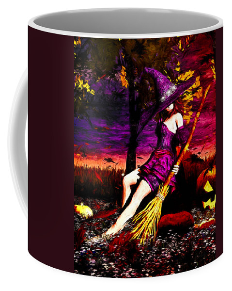 Pumpkin Patch Coffee Mug featuring the painting Witch In The Pumpkin Patch by Bob Orsillo